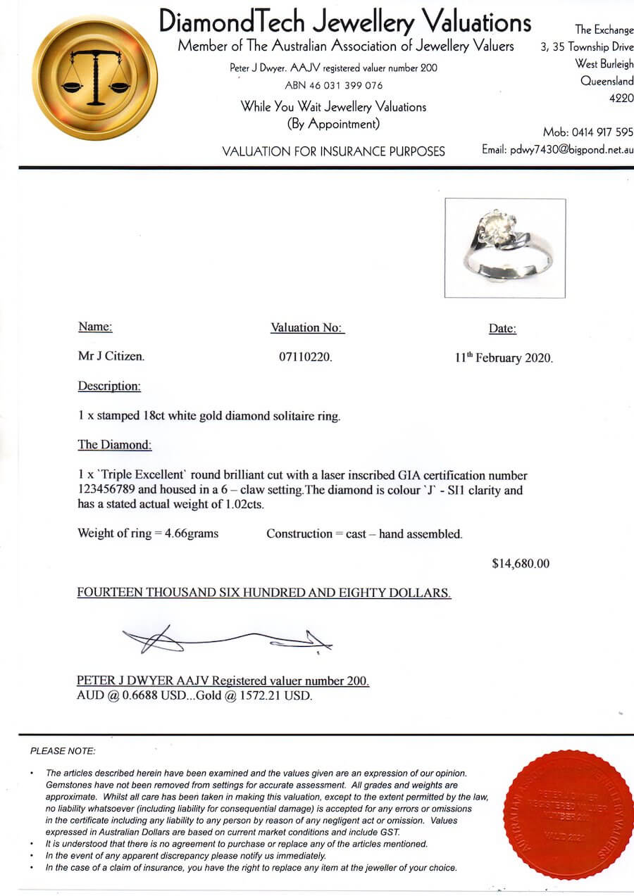 Sample Jewellery Valuation Certificate